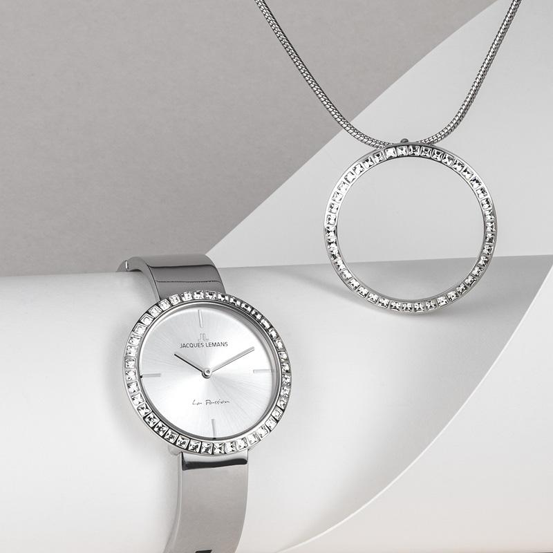 Silbernes Uhren Schmuck Set   Jacques Lemans®